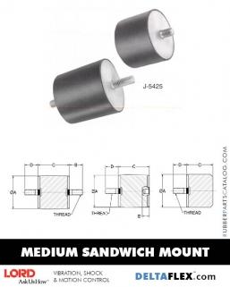 Rubber-Parts-Catalog-Delta-Flex-LORD-Flex-Bolt-Medium-Sandwich-Mounts-J-5425